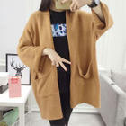 Open Front Pocketed Long Cardigan 1596