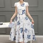 Floral Print Short-Sleeve Midi Chiffon Dress 1596