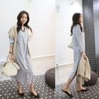 V-Neck Buttoned Polka-Dot Long Dress 1596