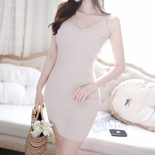 Spaghetti-Strap Ribbed Minidress 1060070144