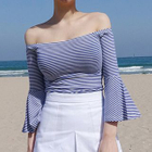 Stripe Bell-Sleeve Off-Shoulder Top 1596
