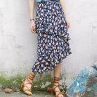 Chiffon Dotted Ruffle High-Waist Skirt 1596