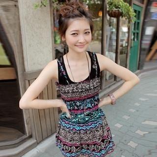 Buy CLICK Geometric Print Smoked Dress 1022978811