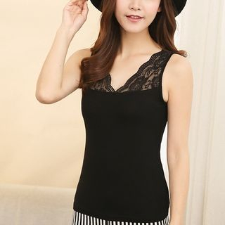 Lace Panel Sleeveless Top 1050331194