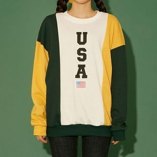 Color-Block Lettering Sweatshirt 1064421022