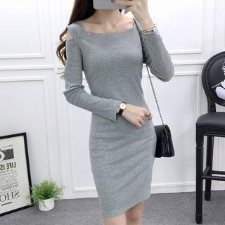 Cutout Shoulder Long-Sleeve Dress 1058478543