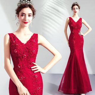 Sleeveless | Embroider | Mermaid | Dress