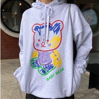 Bear Printed Hoodie Light Gray Fleece Lining - One Size