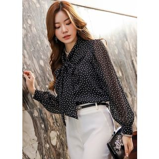 Styleonme Tie-Neck Ruffled Dotted Chiffon Blouse