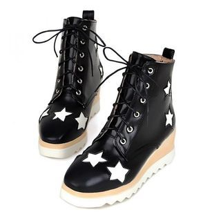 Faux Leather Star Printed Lace Up Ankle Boots