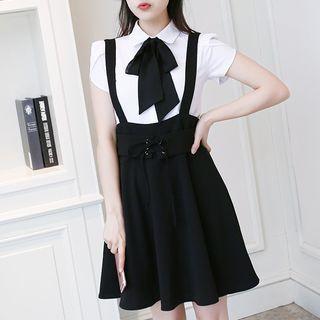 In the Mood Plain Suspender Flared Skirt