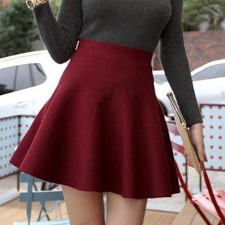 Image of High Waist Knit Skater Skirt