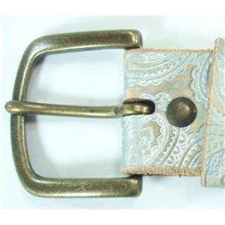 Buy ESCOBARIA Paisley Motif Embossed Leather Belt Silver – One Size 1004624153