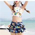 Set: Owl Print Bikini + Cover-Up Skirt 1596