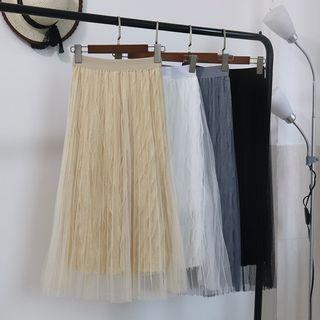 Image of Elastic Waist Mesh Overlay Midi Skirt