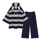 Set: Elbow-Sleeve Hoodie + Cropped Wide Leg Pants 1596