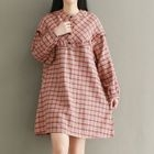 Plaid Long-Sleeve Collarless Dress 1596