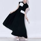 Sleeveless Color Block A-Line Maxi Dress 1596