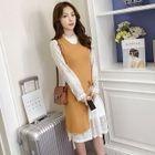 Set: Long-Sleeve Lace Dress + Sleeveless Slit-Hem Knit Top 1596