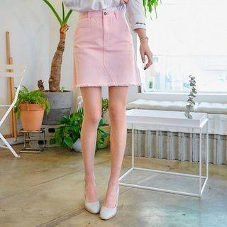 Fringed-Hem A-Line Mini Skirt 1058564898