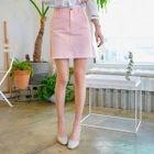 Fringed-Hem A-Line Mini Skirt 1596