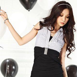 Buy Tian Mu Crochet Trim Stripe Tank Dress 1022903544