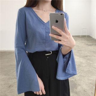 Bell-Sleeve V-Neck T-Shirt 1061605929