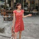 Square-Neck Cap-Sleeve Mini Dress 1596