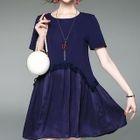 Panel Short-Sleeve A-line Dress 1596