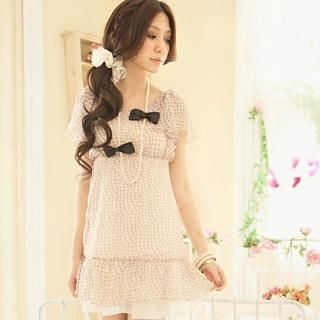 Buy Tokyo Fashion Necklace Short-Sleeve Chiffon Dress 1022996007