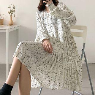 Image of Dotted Long-Sleeve Mini Accordion Pleated Chiffon Dress
