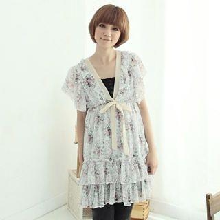 "Buy CatWorld V-Neck ""Ribbon"" Print Chiffon Dress 1023065494"