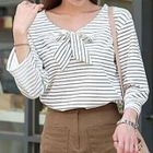 Long-Sleeve Bow-Accent Striped Top 1596
