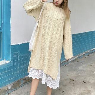 Long-Sleeve Rib Knitted Dress 1063116253