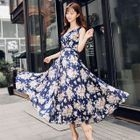 Printed V-Neck Sleeveless Chiffon Maxi Dress 1596