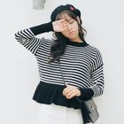 Pinstriped Ruffle Hem Sweater 1596