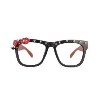 Glamourous Red lips Glass Frame Black - One Size 1044644529