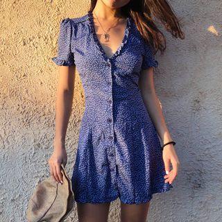 Image of Dotted V-Neck Short-Sleeve Slim-Fit Dress