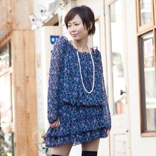 Picture of ageha@shibuya Drop-Waist Floral Print Tunic Navy Blue - One Size 1022149442 (ageha@shibuya Tees, Womens Tees, Japan Tees, Causal Tops, Print / Logo Shirts)