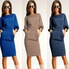 Elbow-Sleeve Gather-Waist Sheath Dress 1596