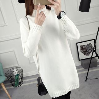 Mock Collar Ribbed Hem Long Sweater 1061473413