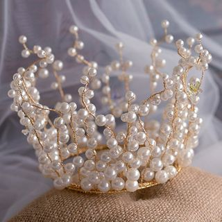 Image of Bridal Faux Pearl Crown / Necklace / Drop Earring