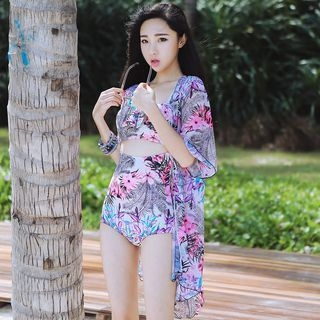 Set: Floral Print Cutout Swimsuit + Cover-Up 1057274880