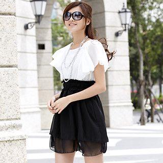 Buy 59th Street Set: Flutter-Sleeve Chiffon Panel Dress + Lace Belt Black and White – One Size 1022647780