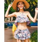 Set: Floral Print Ruffled Bikini Top + Swim Skirt 1596