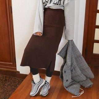 Band-Waist Ribbed Knit Skirt 1063930329