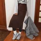 Band-Waist Ribbed Knit Skirt 1596