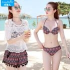 Set: Patterned Bikini + Tasseled Swim Shorts 1596