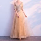 V-Neck Elbow-Sleeve A-Line Evening Gown 1596
