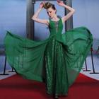 Sleeveless Sheer Panel Evening Gown 1596